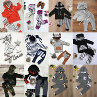 Winter Kids Baby Boy Girl Outfit Clothes Hooded Long Sleeve Tops+Pants 2PCS Set