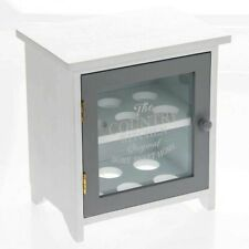 White Grey Wooden Egg Storage Cabinet House 12 Eggs Holder Country Kitchen Gift