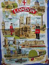 Tea Dish Towel Souvenir London UK Sites Big Ben Palace Bridge Trafalgar Unused