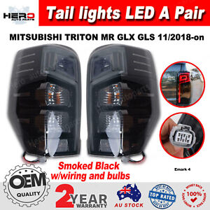 Tail Lights Rear Lamps LED For MITSUBISHI TRITON MR 2018-on Pair L+R Smoked
