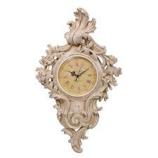 Francés Chic país Recargado Crema Reloj de pared con efecto envejecido H: 55 Cm De Alto Calidad