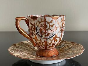 Vintage Signed Japanese Porcelain Butterflies Cup and Saucer