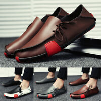 Mens Soft Leather Slip On Casual Shoes Loafers Driving Work Moccasins Flat Pumps