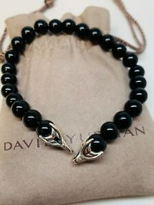 "David Yurman Men's Black Onyx Spiritual Bead Bracelet 8.5"""