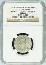 Swiss 1908 Silver Shooting Medal Appenzell Walzhausen R-73a Archer NGC MS64