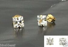 9ct Gold 5mm Square Princess Cut CLEAR WHITE CZ STUDS EARRINGS B'Day GIFT BOX BN