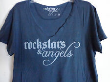 Rockstars & Angels logo blue v neck cut out T shirt back wings red star SZ L New