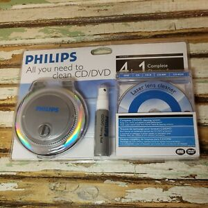 Philips CD & DVD 4 In 1 Complete Disk Laser Lens Cleaning Cleaner Kit System