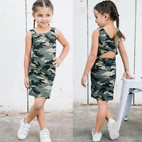 Toddler Kid Baby Girl Sleeveless Camouflage Backless Dress Casual Summer Dresses