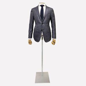 Ermenegildo Zegna Jacket. Blue Grey Silk Fabric. Size 38 UK, 48 EU. Drop 8