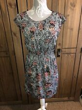 Vila Ladies Floral Dress Size  Medium 10 12 Black White Pink Quirky Unusual