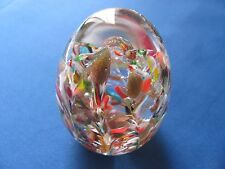 Vintage wild flower garden Murano made in Venice Italy egg shaped paperweight