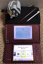 *Nintendo DSi XL* Burgundy Handheld Console with Styluses, Case & Charger*