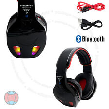 New Black LED Bluetooth Wireless TF MIC Hands-free Headset with Cables DCUK
