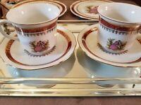 CMIELOW 1790 2 COFFEE CUPS &  SAUCERS 2 DESSERT PLATES POLAND 24k GOLD