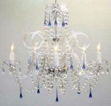 5 LIGHT VENETIAN STYLE CRYSTAL CHANDELIER BLUE DROPS LIVING DINING ROOM KITCHEN