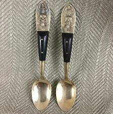 Vintage Teaspoons Gold Plated Wooden Handle Siam Siamese Asian Oriental