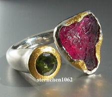 Einzelstück * Ring * Turmalin * 925 Silber * 24 ct Gold *