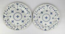 "Myott Finlandia9 7/8"" Dinner PlatesBlue/White Staffordshire England Set of 2"