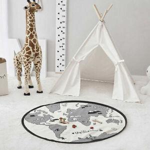 Round Circle Kids Play Mat Rug Fun Children Nursery Playroom Mat Bedroom