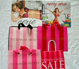 lot of 4 Victoria Secret Paper Bags,  2 Aerie medium Christmas gift bags