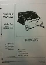 AgriFab Lawn Sweeper Mower Garden Tractor Owner,Assembly & Parts Manual 16p Pull