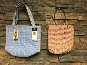 Two Polo Jeans Ralph Lauren Small Summer Tote Bags Purse Plaid Nantucket NWT /