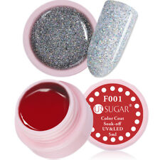 2Pcs 5ml Nail UV Gel Polish Red Glitter Soak Off Nail Art LED Gel Kit UR SUGAR