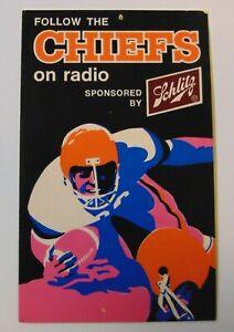 Vintage 1970 KANSAS CITY CHIEFS NATIONAL FOOTBALL LEAGUE NFL FOOTBALL SCHEDULE