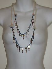 Anthropologie Cream Rope Navy  Bead Antique Brass Tassel Fringe Necklace Lot 2