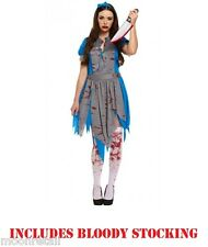 Alice In Wonderland Zombie Scary HORROR Halloween Ladies Fancy Dress Costume