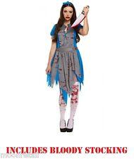 Alice In Wonderland Zombie Scary HORROR Halloween Ladies Fancy Dress Costume