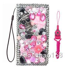 Luxury PU Leather Flip Bling Diamond Wallet Case Girls' Phone Cover & strap #TI