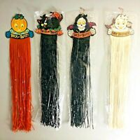 Vintage Halloween Die Cut Decorations Streamers Skeleton Pumpkin Black Cat Ghost