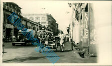 Singapore Busy Street Scene  Taxi Rickshaw Bus People in 1950 v2