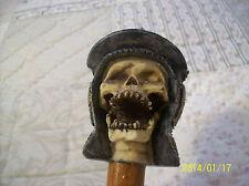 Walking Stick Vintage Spanish Skull With Helmet Resin With Teak Shaft