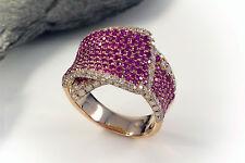 Schmuck Verspielter Designer Ring mit Saphir pink & Brillanten in Rotgold 750