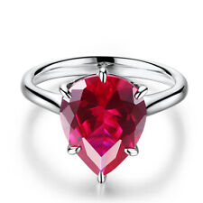 Pear Cut 8.4CT Artificial Ruby 12x9mm Gemstone Ring 10k White Gold Wedding Party
