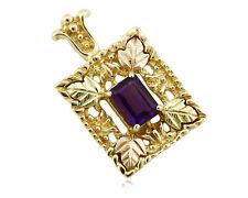 Women's Black Hills Gold Amethyst 10k SOLID Gold Pendant