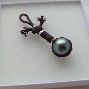 Real Tahitian Pearl Handmade Pendant, Rope & Silver