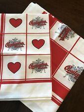 2 Vintage Budweiser Budvar Hand towels hearts i love budweiser beer mancave bar