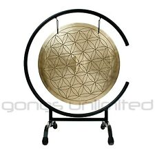 """16"""" Flower of Life Wind Gong on High C Gong Stand with Mallet"""