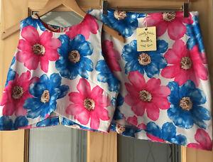 Urmoda Pink Mix Floral 2 Piece Skirt And Sleeveless Top Suit Size M BNWT