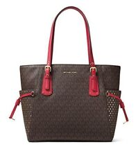 MICHAEL Michael Kors Voyager East West Signature Tote (Brown/Burnt Red)