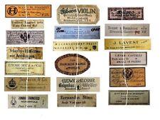 V105 Old Violin Fiddle Maker Labels Antique Copies Reproduction Set of 19