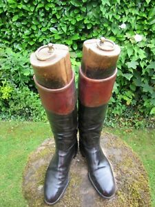 Antique Decorative Leather Riding Boots with Original Trees Black and Brown VGC
