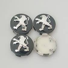 Peugeot Black Wheel Hub Center Caps 4x60 mm, 206 207 307 308 406 407