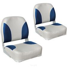 2x asientos barco, sillón de barco, asiento de timón, azul/blanco piel sintética