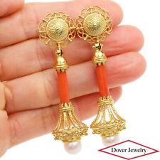 Estate Coral Pearl 18K Yellow Gold Etruscan Long Drop Earrings 16.2 Grams NR
