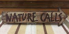Restroom Nature Calls Wood Mancave Camping Cabin Bathroom Vintage Style Hunting